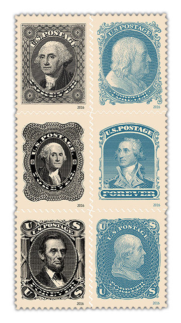 "Closeup of the ""Classics Forever"" stamps"