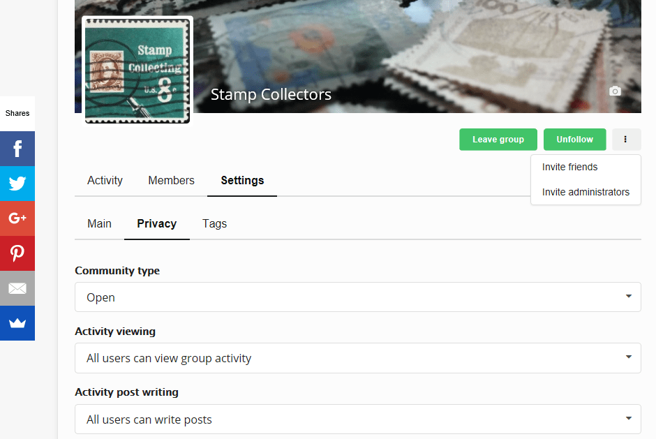 Groups settings page