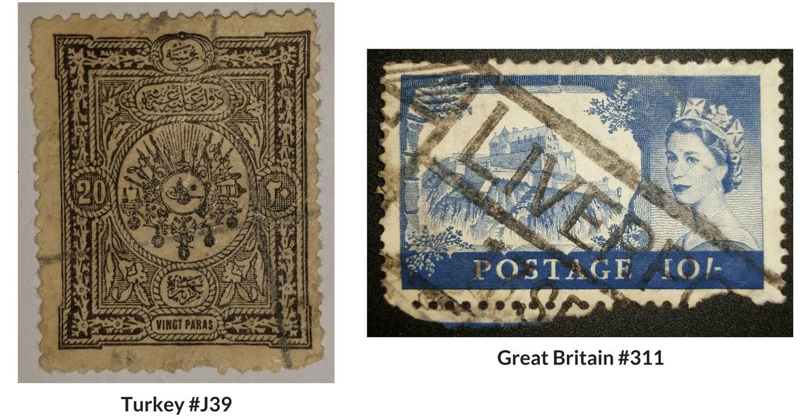 Turkey #J39 & Great Britain #311